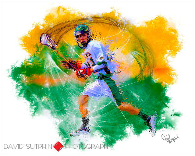 Illustration created from a photograph of a Mountain Vista High School Boy's Lacross player.