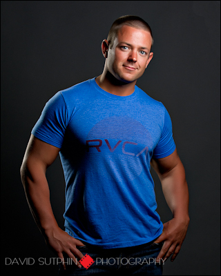 Another photo suitable for a model portfolio or model comp card that emphasizes Chuck's muscular physique.