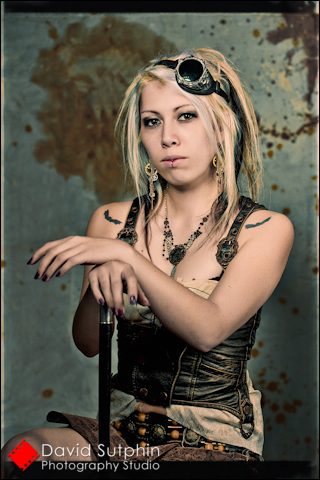 Steampunk girl posing for portrait. Steampunk photography.