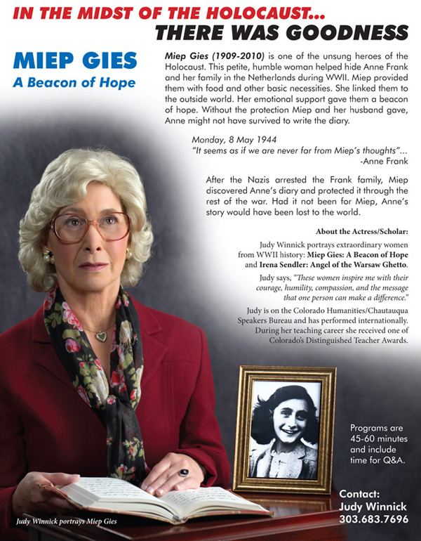 Promotional flyer for Judy Winnick's portrayal of Mipe Gies. Actor headshot by David Sutphin Photography Studio.