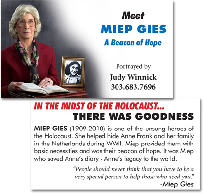 Promotional cards for Judy Winnick's portrayal of Mipe Gies. Actor headshot by David Sutphin Photography Studio.